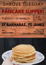 Poster of pancake supper (details in event description)