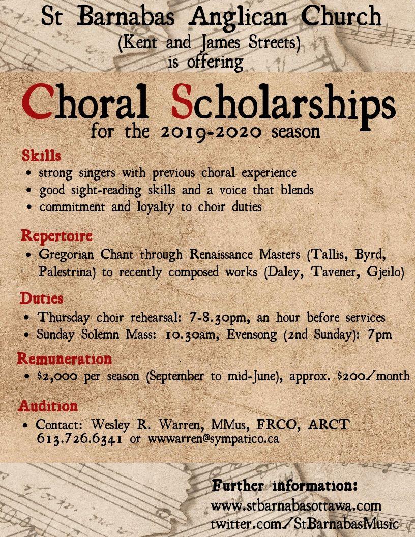 Poster for choral scholarship program. Details below.