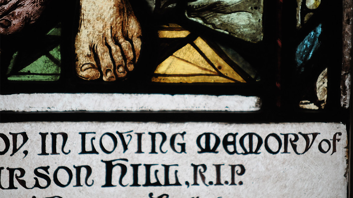 Detail of memorial stained glass window.