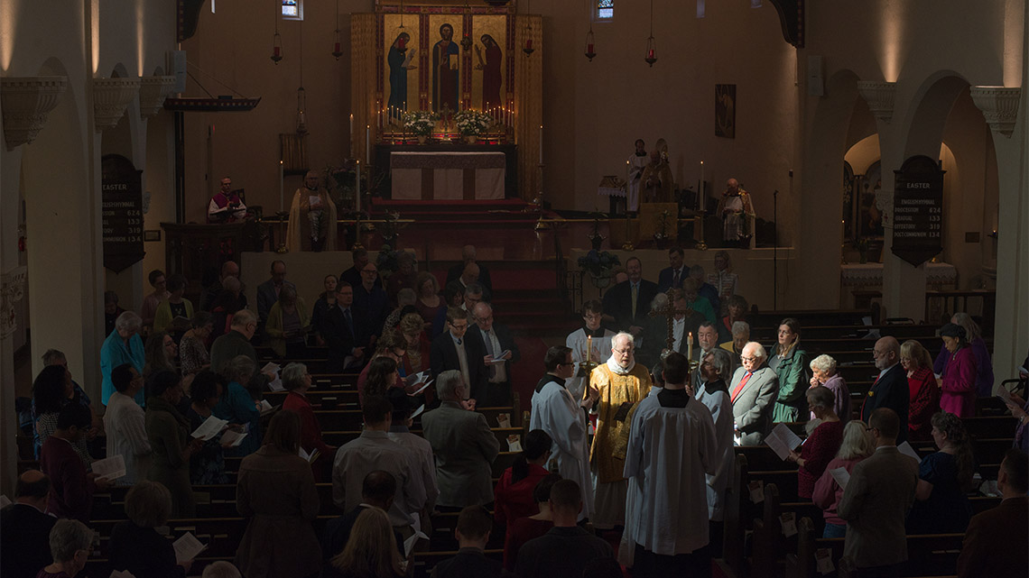 Photo of Gospel reading.