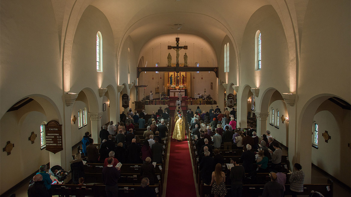 Easter procession photo, view of sanctuary from choir loft