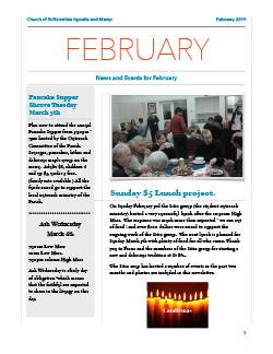 Cover of February newsletter